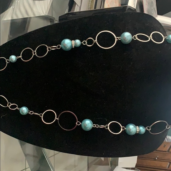 Teal & Silver Necklace & Earring Set